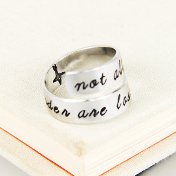 Not All Those Who Wander are Lost - Hiking - Travel - Simple Rings - Adjustable Aluminum Wrap Ring - It Came From the Internet