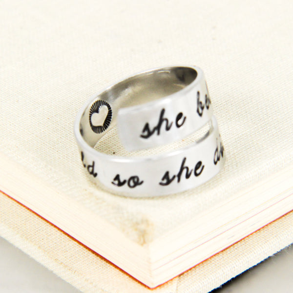 She Believed She Could so She Did - Heart - Inspirational Rings - Adjustable Aluminum Wrap Ring