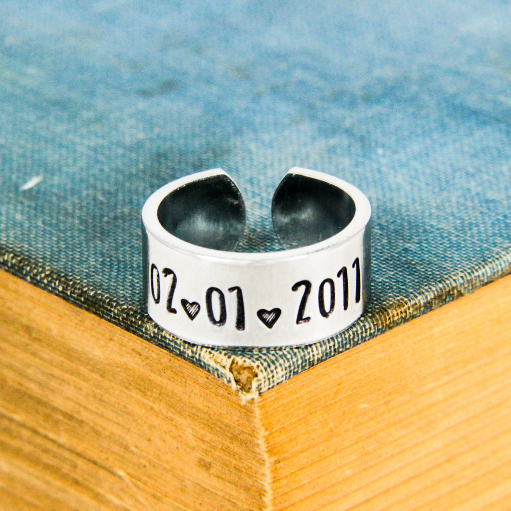 Anniversay Date Ring - Anniversary Gift - Adjustable Aluminum Ring - It Came From the Internet