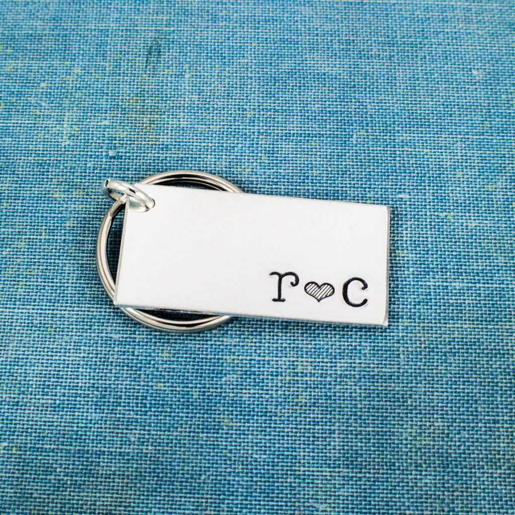 Custom Initials Keychain - Couples Initials - Aluminum Key Chain - It Came From the Internet