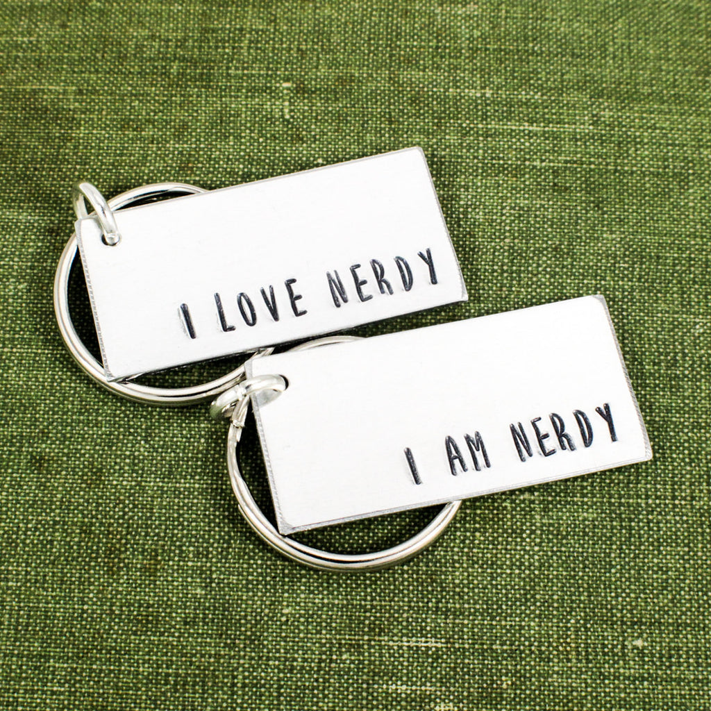 I Love Nerdy | I Am Nerdy Keychain Set - Robots - Geek Couples Accessories - Aluminum Key Chains - It Came From the Internet
