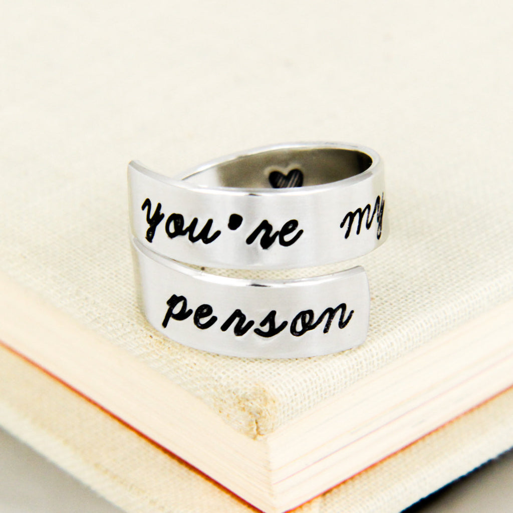You're My Person Ring - Heart - Simple Rings - Adjustable Aluminum Wrap Ring