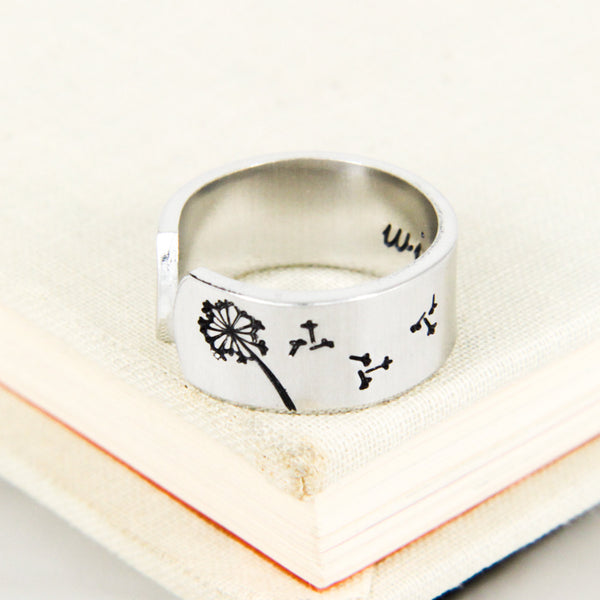 Dandelion Wish Ring - Inspiriational Rings - Adjustable Aluminum Ring - It Came From the Internet
