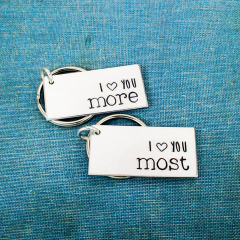 I Love You More | I Love You Most Keychain Set - Couples Accessories - Aluminum Key Chains - It Came From the Internet