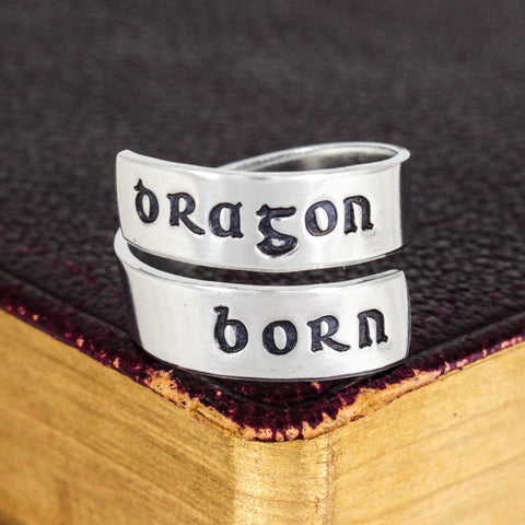 Dragonborn Ring - Skyrim - Video Games - Adjustable Aluminum Wrap Ring - It Came From the Internet