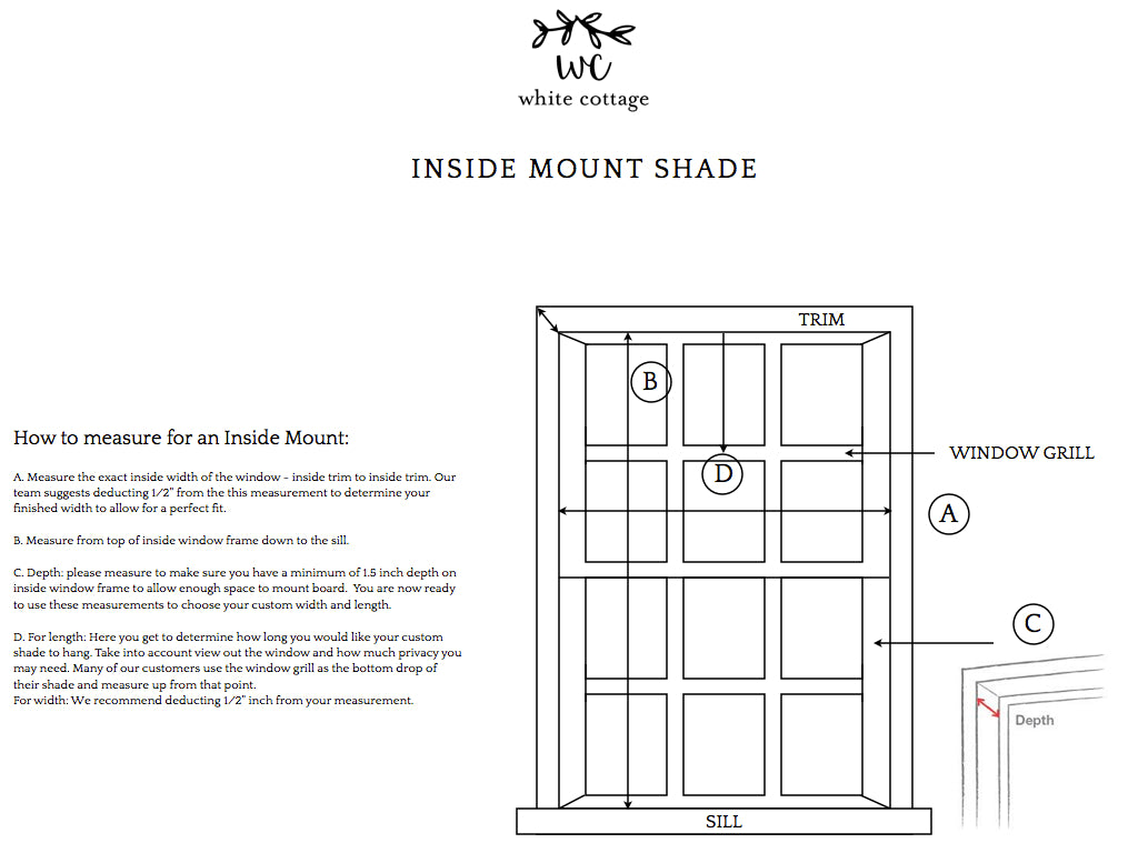how to measure for inside mount roman shades