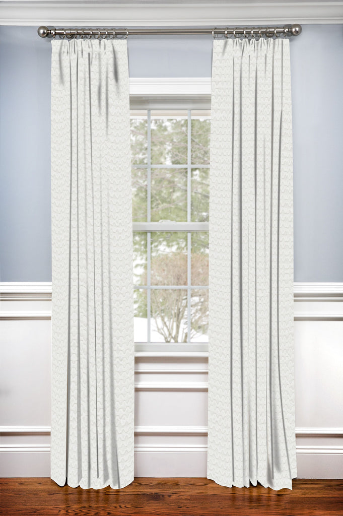 Hidden Back Tab Drapery Panel- Dartford Ivory Matelasse