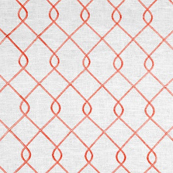 Custom Classic Roman Shade Valance- Rico Embroidered Coral