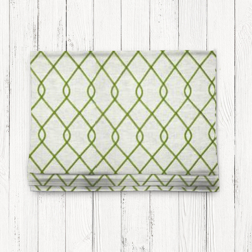 Custom Classic Roman Shade Valance- Rico Embroidered Green