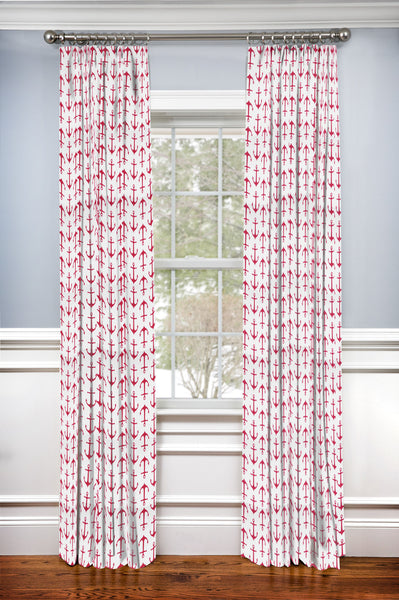 Hidden Back tab Drapery Panel- Anchors Away Pink