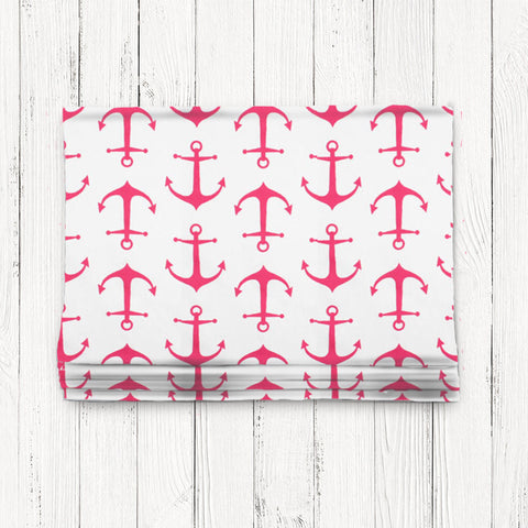 Custom Classic Roman Shade Valance- Anchors Away Pink