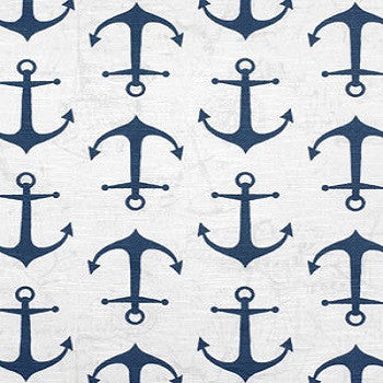 Hidden Back tab Drapery Panel- Anchors Away Navy