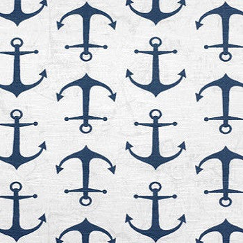 Custom Drapery Panel- Anchors Away Navy