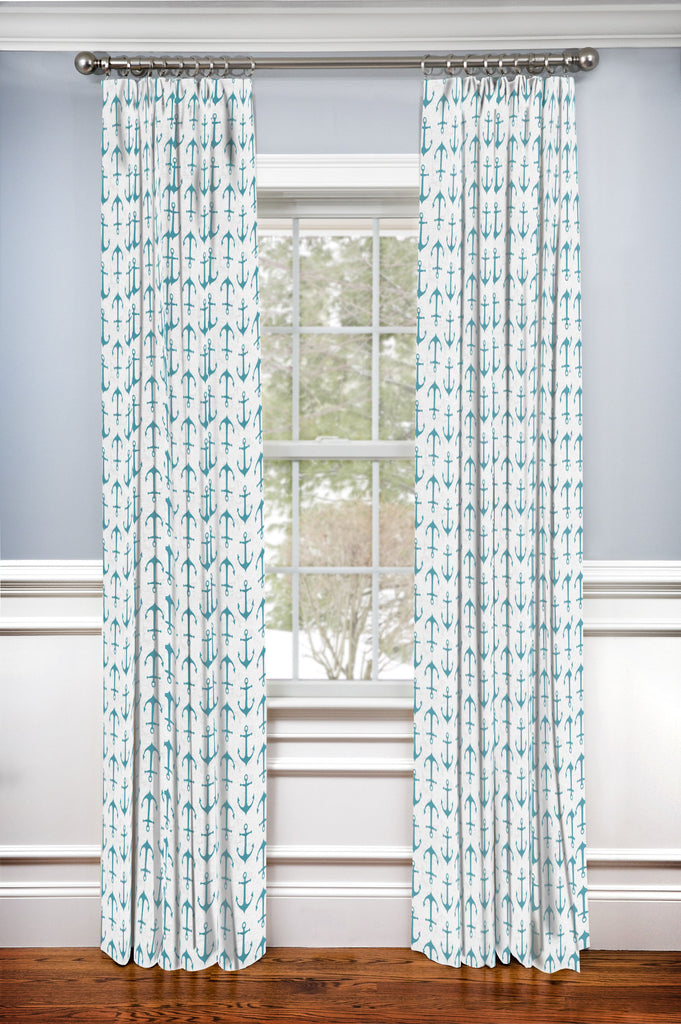 Custom Drapery Panel- Anchors Away Aqua
