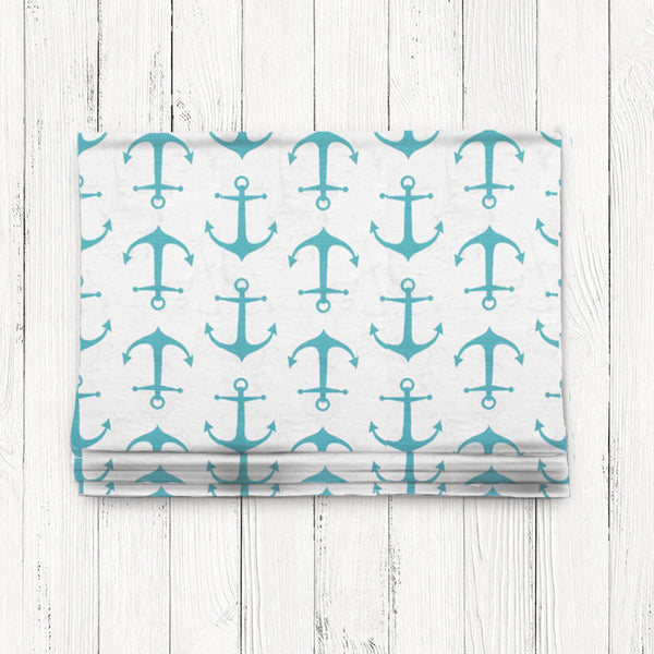 Custom Classic Roman Shade Valance-  Anchors Away Coastal Blue