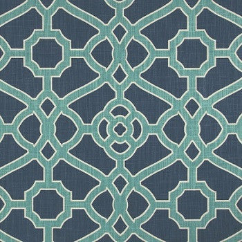 Hidden Back tab Drapery Panel- Fretwork Indigo