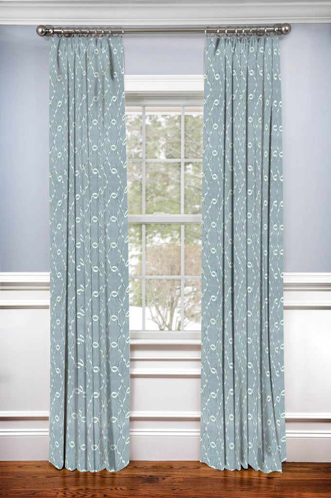 Hidden Back tab Drapery Panel- Embroidered Ocean Mist