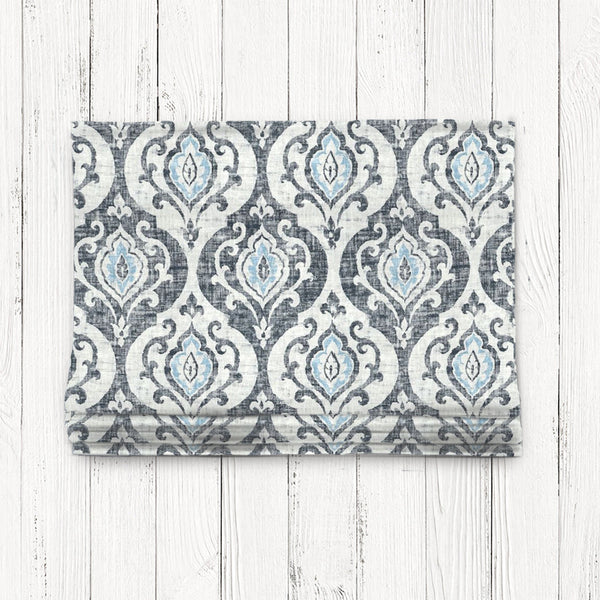 Custom Classic Roman Shade Valance- Slate & Spa Blue Medallion