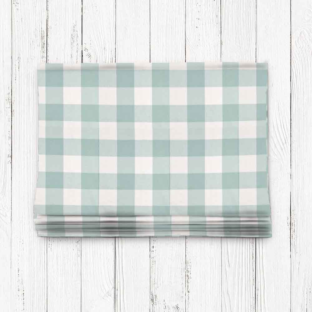 Custom Classic Roman Shade Valance- Buffalo Check Seabreeze