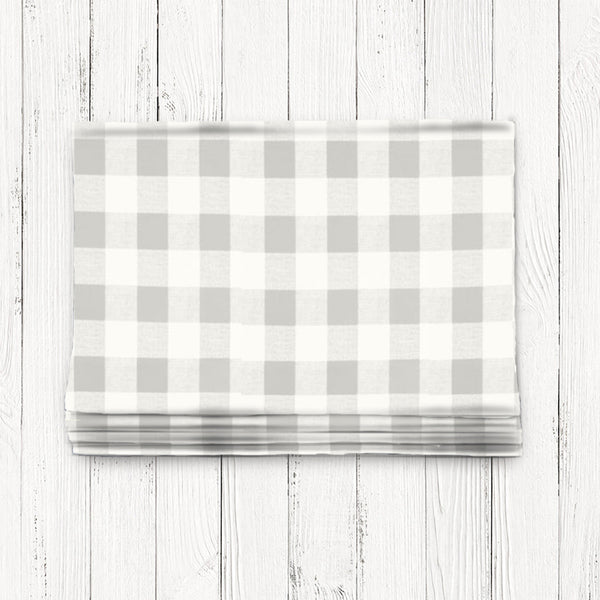 Custom Classic Roman Shade Valance- French Gray Check