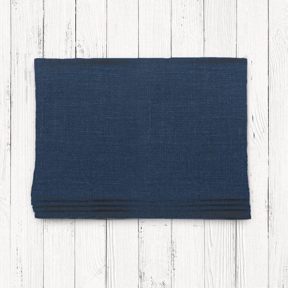 Custom Classic Roman Shade Valance- Irish Linen Navy