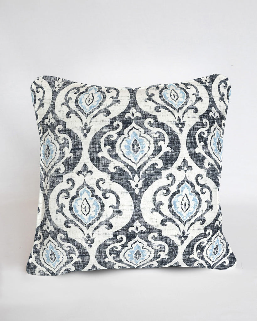 Custom Pillow Cover- Slate & Spa Blue Medallion