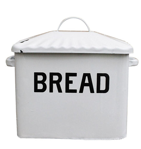 White Enameled Bread Box