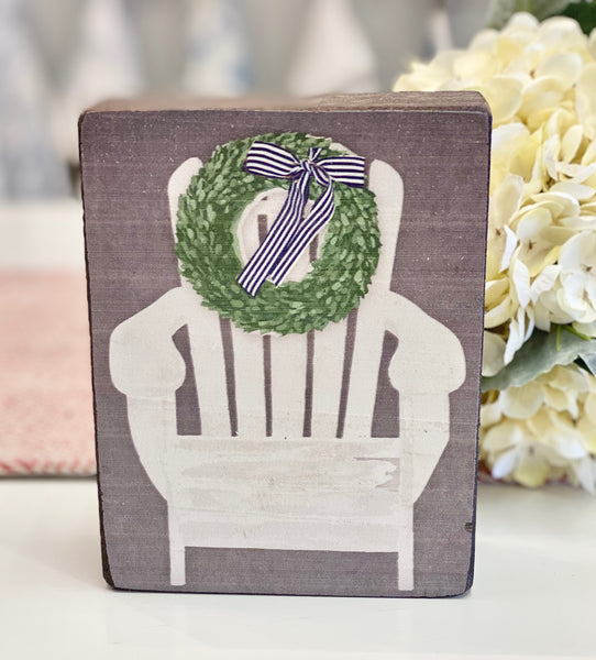 White Cottage Adirondack Chair Rustic Block