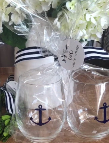 Classic Anchor Stemless Wine Glasses