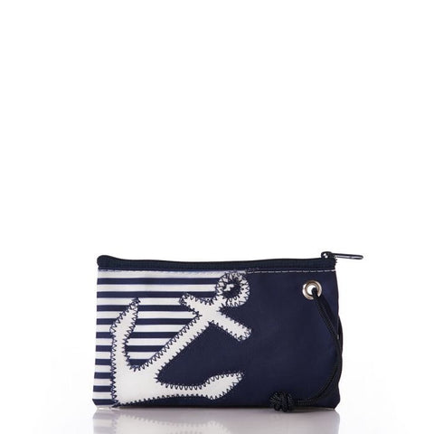 Breton Stripe White Anchor Small Wristlet