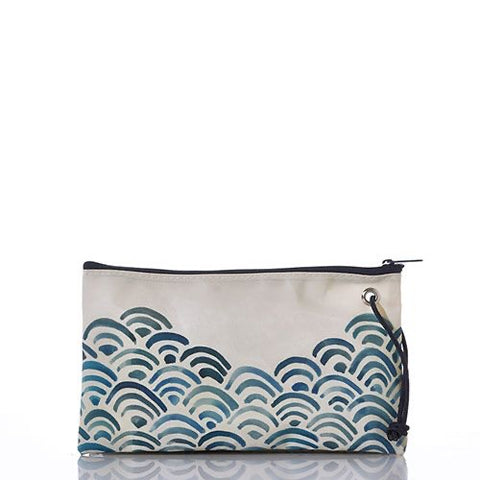 Watercolor waves Large Wristlet