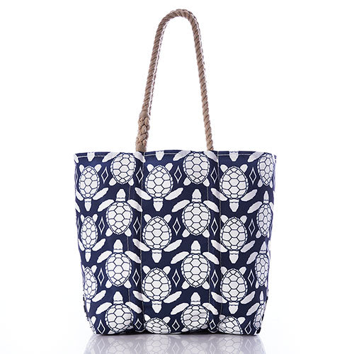 White-on-Navy Sea Turtle Tote