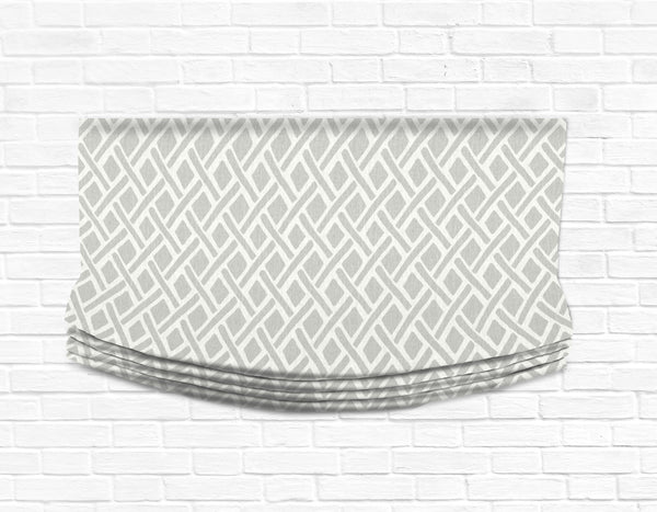 Custom Relaxed Roman Shade Valance- Treads Asphalt Lattice