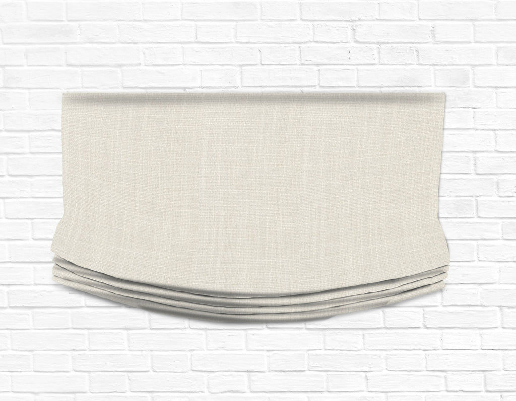 Custom Relaxed Roman Shade Valance- Perth Greige Linen Weave