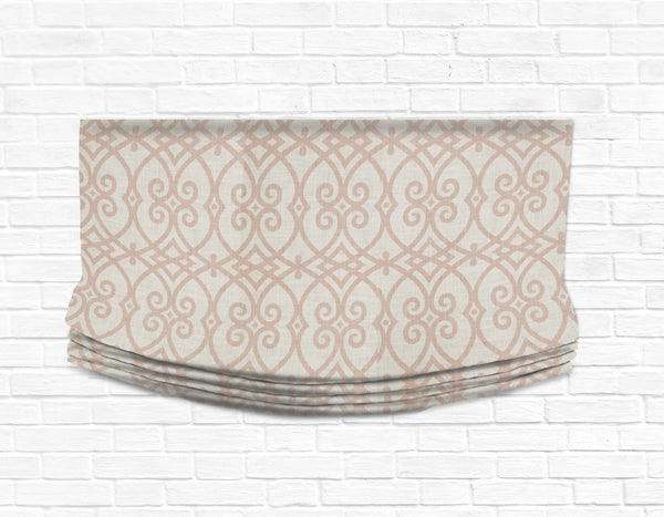 Custom Relaxed Roman Shade Valance- Architect Coral Linen