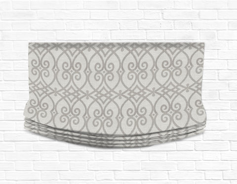 Custom Relaxed Roman Shade Valance- Architect Dove Gray Linen