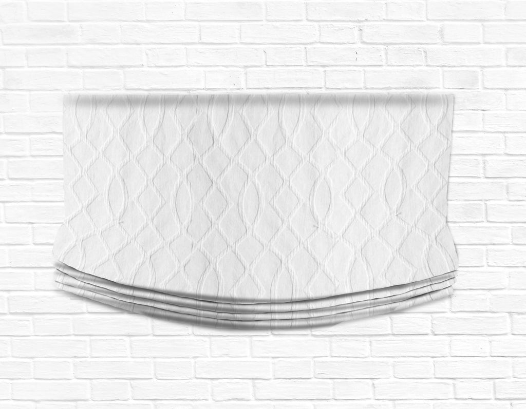 Custom Relaxed Roman Shade Valance- White Lattice