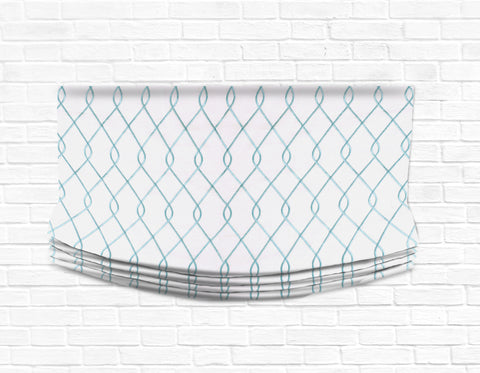 Custom Relaxed Roman Shade Valance- Rico Embroidered Aqua