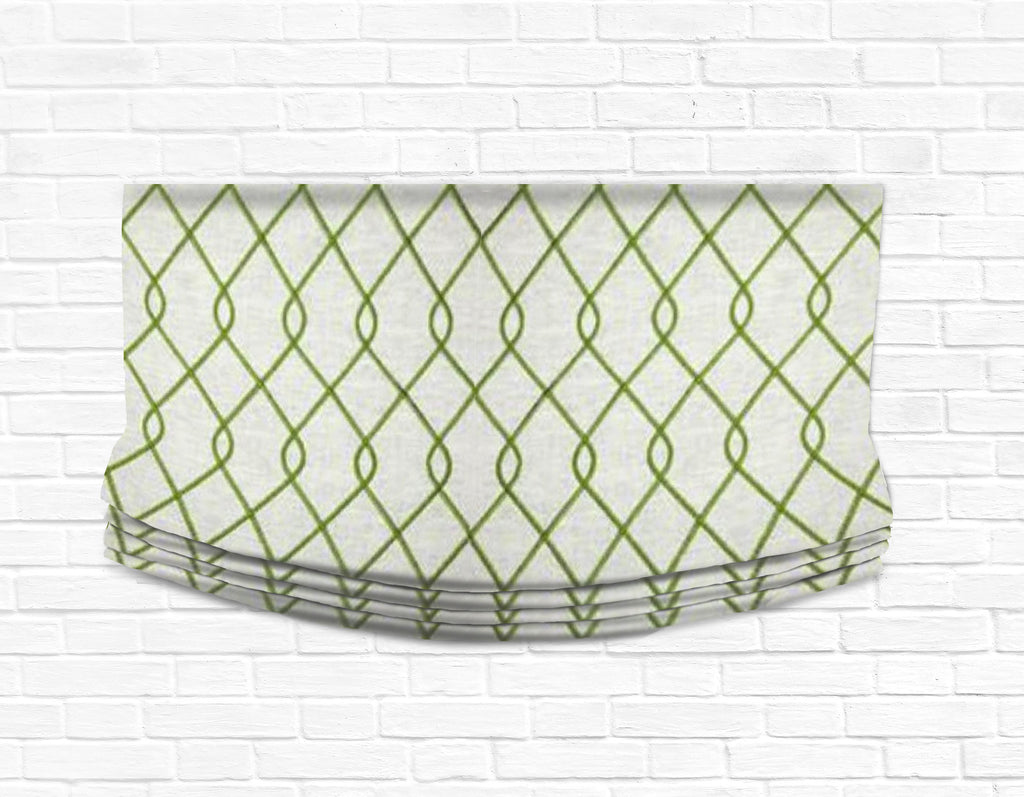 Custom Relaxed Roman Shade Valance- Rico Embroidered Green