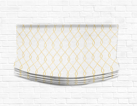 Custom Relaxed Roman Shade Valance- Rico Embroidered Yellow