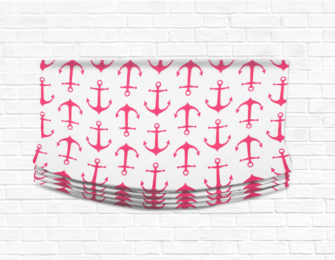 Custom Relaxed Roman Shade Valance- Anchors Away Pink