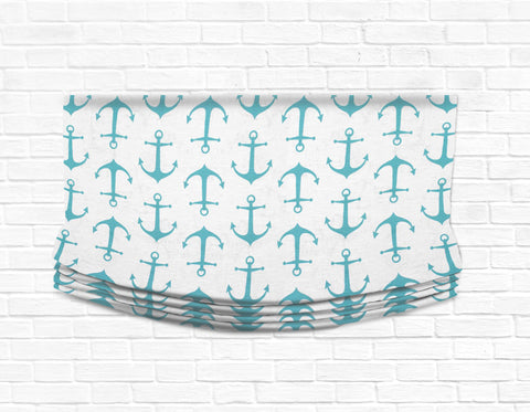 Custom Relaxed Roman Shade Valance- Anchors Away Aqua