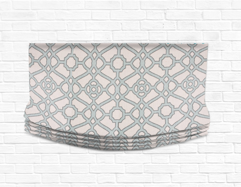 Custom Relaxed Roman Shade Valance- Fretwork Aqua Blue
