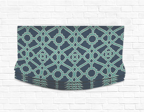 Custom Relaxed Roman Shade Valance- Fretwork Indigo