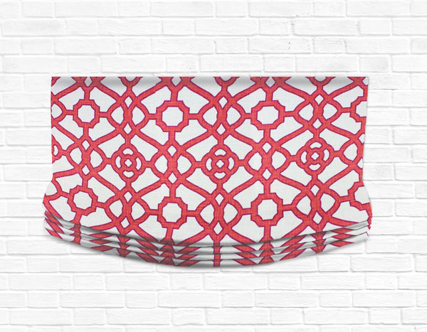Custom Relaxed Roman Shade Valance- Fretwork Papaya