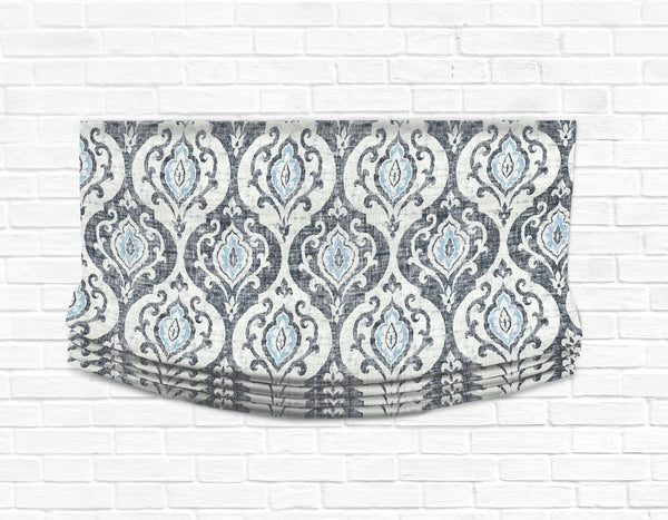 Custom Relaxed Roman Shade Valance- Slate & Spa Blue Medallion