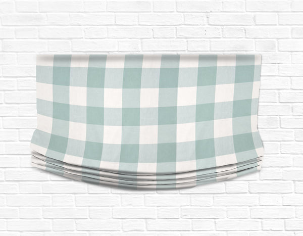 Custom Relaxed Roman Shade Valance- Buffalo Check Seabreeze