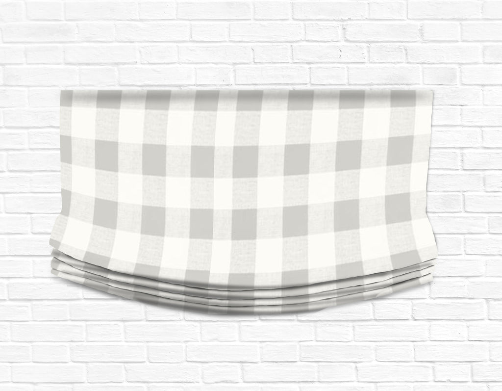 Custom Relaxed Roman Shade Valance- French Gray Check