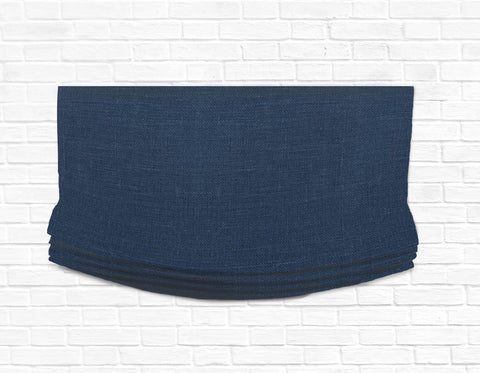 Custom Relaxed Roman Shade Valance- Irish Linen Navy
