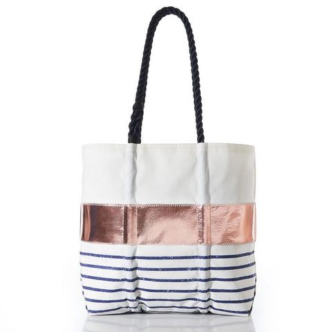 Rose Gold-on-Navy Mariner Stripe Tote